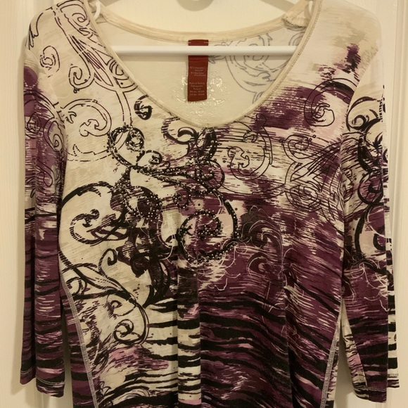 Olsen purple patterned blouse